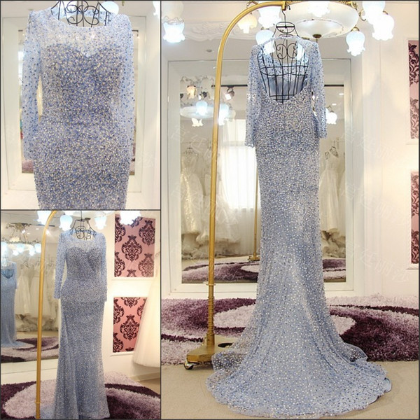 Luxurious Crystal Hollow Long Sleeve Capped Jewel Squins Pearls Major Beading Sexy Elegant Evening Dress Sheath