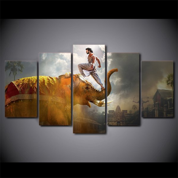 5 Piece Framed HD Printed Thailand Elephant Animal Canvas Artwork Modern Painting Poster Picture For Home Decor Wall Art