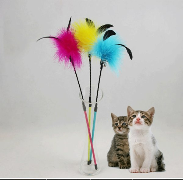 49CM Feathers Cat Teaser Toy Rod Bell Toy Scratching Toys 50pcs/lot Feather Toy With Bell Pretty Color