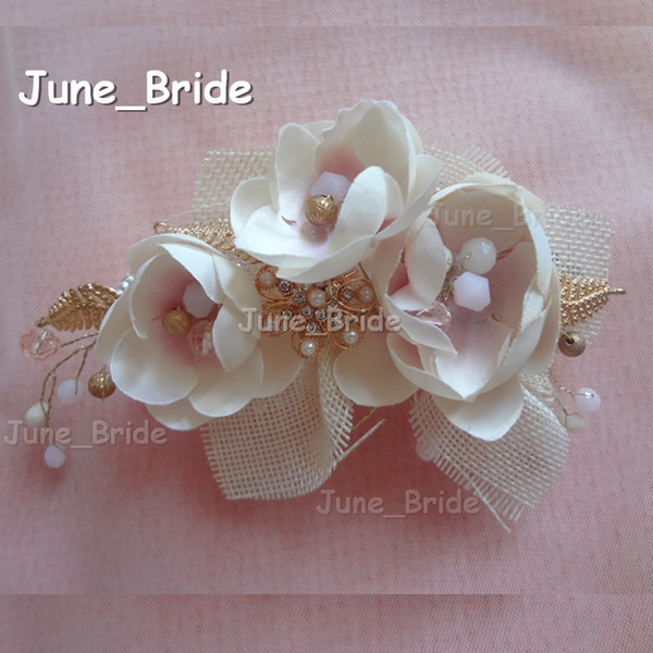 New Arrival Romantic Bridal Hair Flower Real Photo Gold Cream Pink Handmade Flower Hot Free Shipping Crystal Wedding Accessory Headpiece