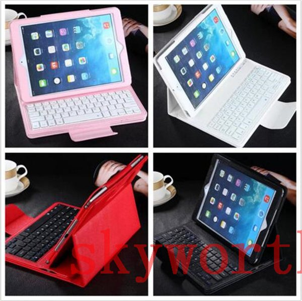 Removable Bluetooth Wireless Keyboard leather case for ipad mini 4 Samsung Galaxy tab S S2 A E T230 T350 T700 T710 T280 Stand