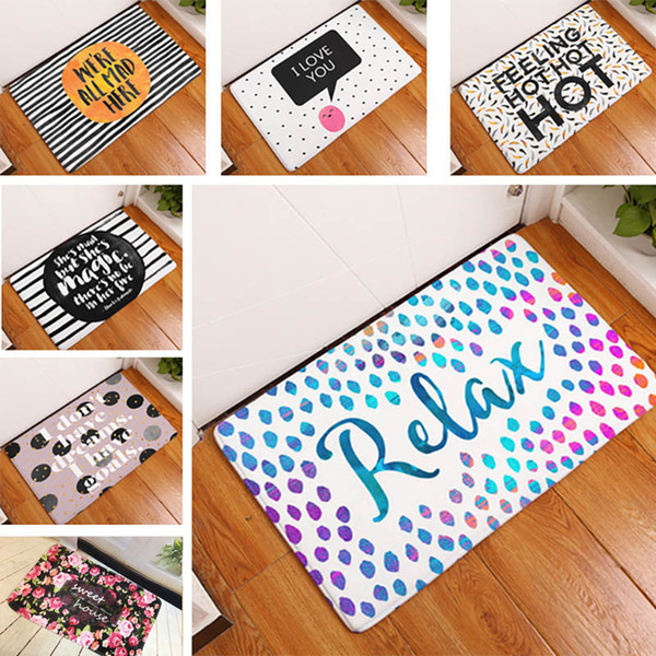 best selling Homing New Arrive Door Mats for Entrance Door Character Colorful Words Printed Carpets Living Room Dust Proof Mats Home Decor WX9-93