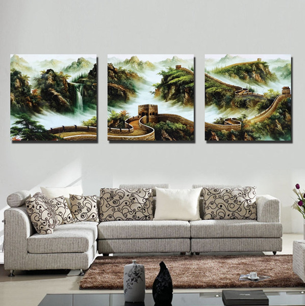 Wall decoration 3 Pieces no frame art picture Free Shipping Canvas Print mountain tree Bridge wharf palace sea house grassland natural scene
