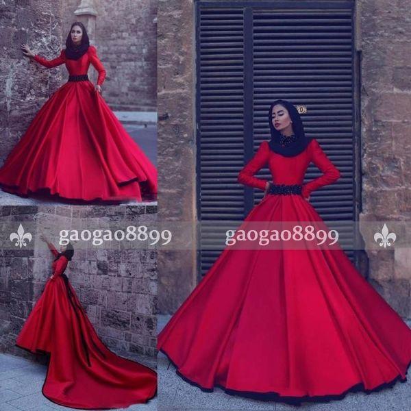 2017 Elegant Red Muslim Foraml Evening Dresses A Line High Neck Beaded Belt Long Train Saudi Arabic Dubai Formal Dresses Party Prom Wear