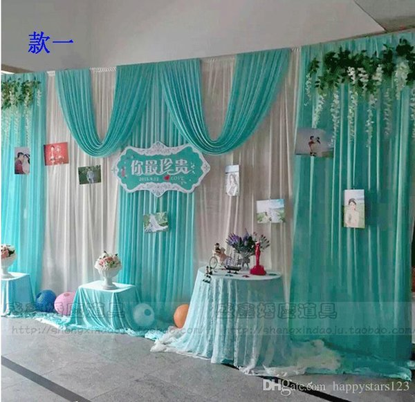 3*6m Wedding Party Ice Silk Fabric Drapery White Blue Color With Swag Stage Prop Fashion Drape Curtain Backdrop DHL Free