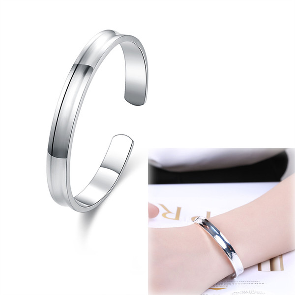 925 Sterling Silver Plated Jewelry 1837 Smooth Small Open Bangle-no Words Fashion Simple Shiny Mirror Metal Surface Slim Bangle Bracelet