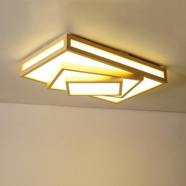 cuadrado lmparas de techo modernas led lmpara de techo de madera para sala de estar dormitorio