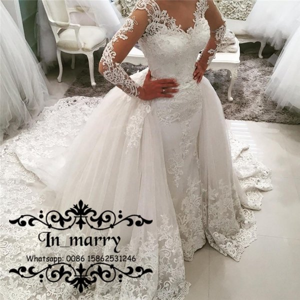 2017 Fall Plus Size Mermaid Overskirts Wedding Dresses Detachable Train Vintage Lace Long Sleeves Beaded Muslim