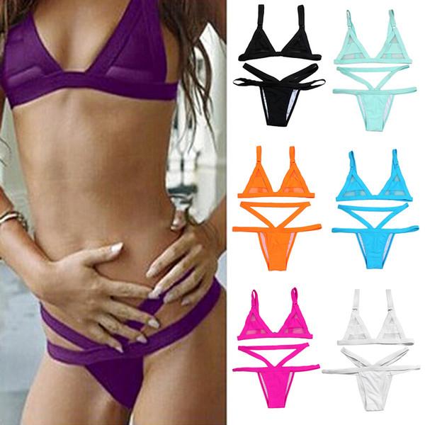 Women Fasion Sexy Mesh Bikini Set Hollow Out Tops Bandage Swimsuit Strappy Swimwear Sexy Mini String Thong 7 Colors 2506003