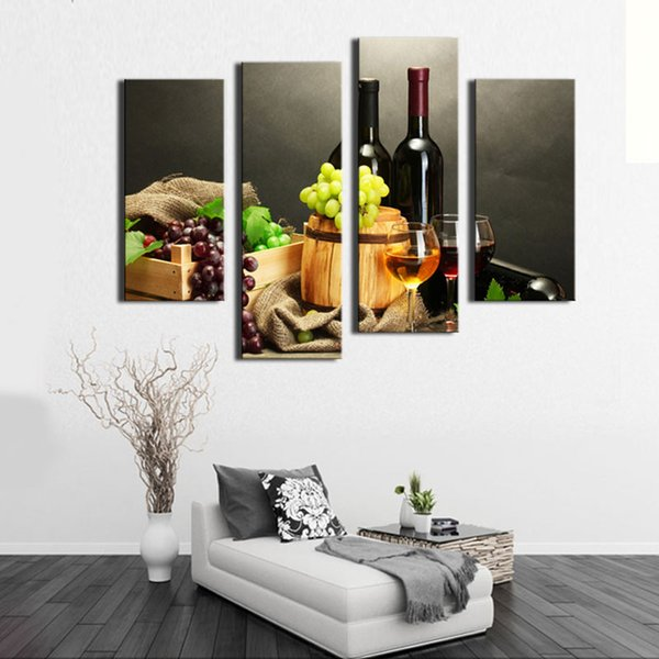 4 Picture Combination Wall Art Painting Fruit And Red Wine Beside candlestick Pictures Prints Canvas For Home Modern Decor
