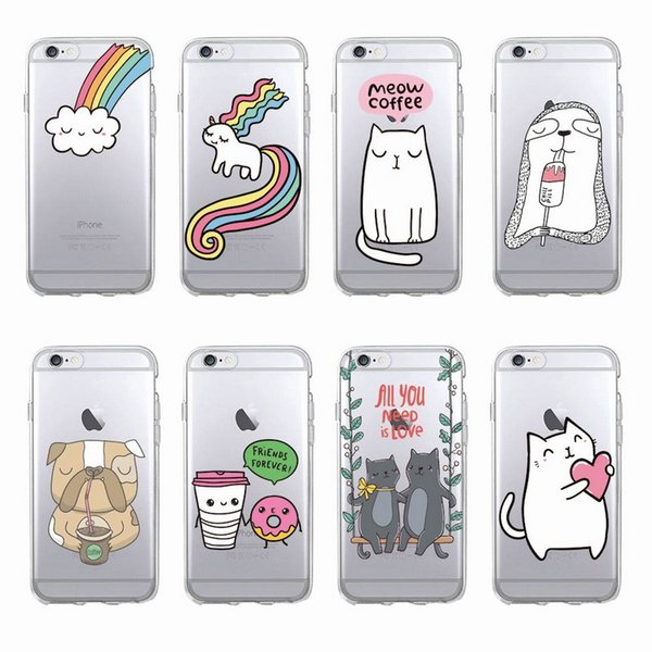 Lovely Cat Soft Rainbow Transparent TPU For iPhone 5 5s 6 6s 6Plus 7 plus Samsung S5 S6 S7 S8P