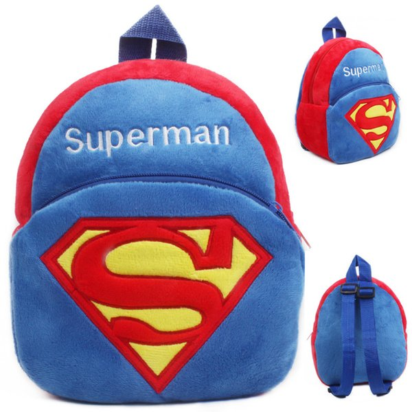 Kindergarten boys girls Superman school bags children soft plush cartoon backpack baby cute mini candy bags toy