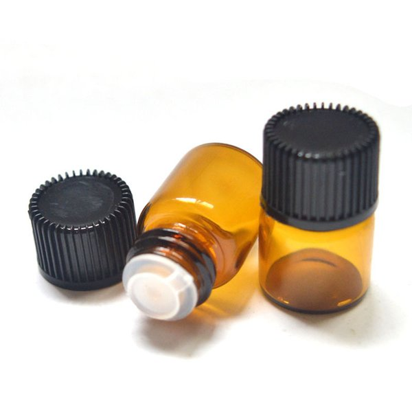 صغيرة العنبر زجاجة زيت أساسي مع سحب الفوهة Rducer برغي كاب البسيطة 16 * 22 مم فارغة 1ML فيال واضحة