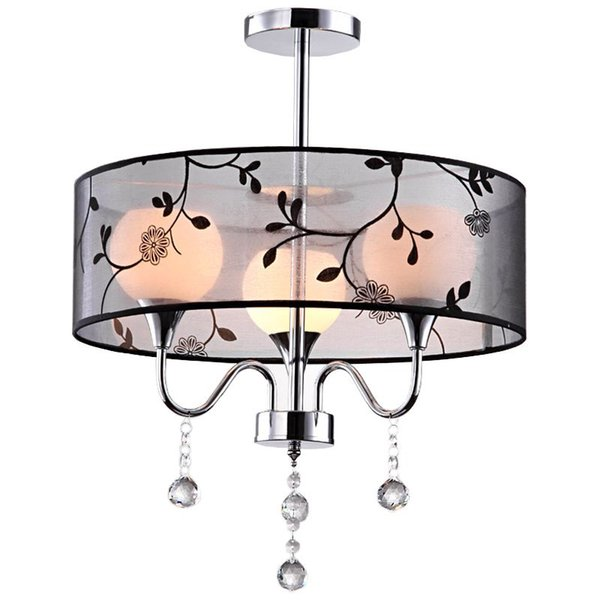 Classic Black Fabric Bedroom Ceiling Lamp Fashion Crystal Study Room Ceiling Fixtures Restaurant Ceiling Lights Chandelier