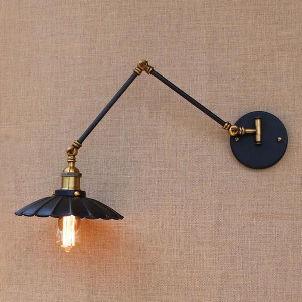 Loft black industrial metal vintage wall lamp E27 light sconce with adjustable long swing arm for workroom bedside bedroom bar