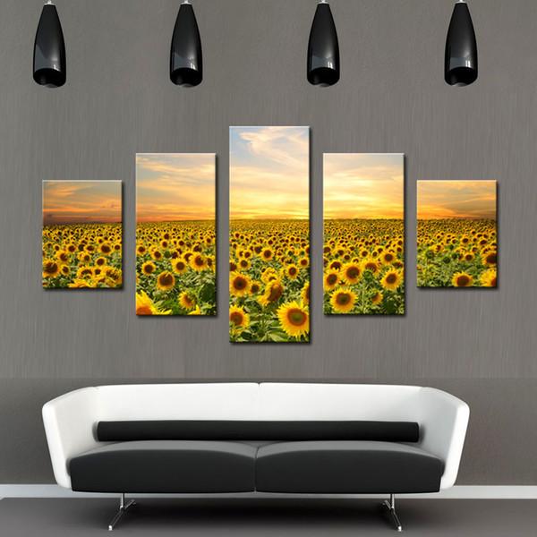 5 Pièces Mur Art Peinture Tournesol Peinture Toile Fleur L'image pour Salon Maison Décoration Murale Cadres Sans Cadre