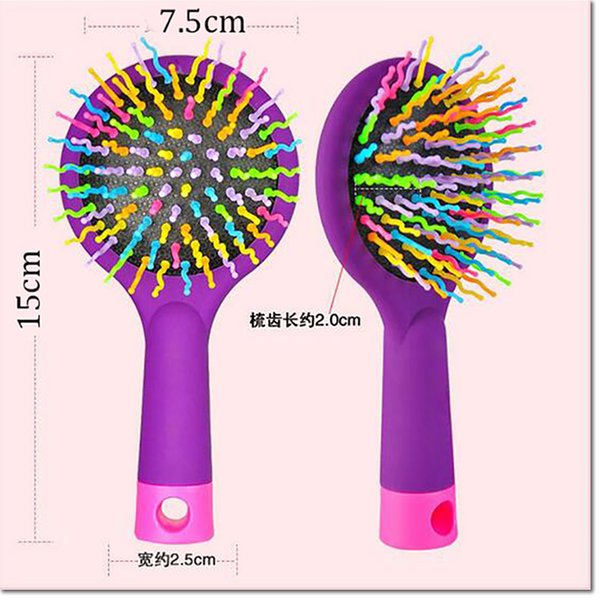 2016 Hot sell Rainbow Volume Anti-static Magic Detangler Hair Curl Straight Massage Comb Brush Styling Tools With Mirror