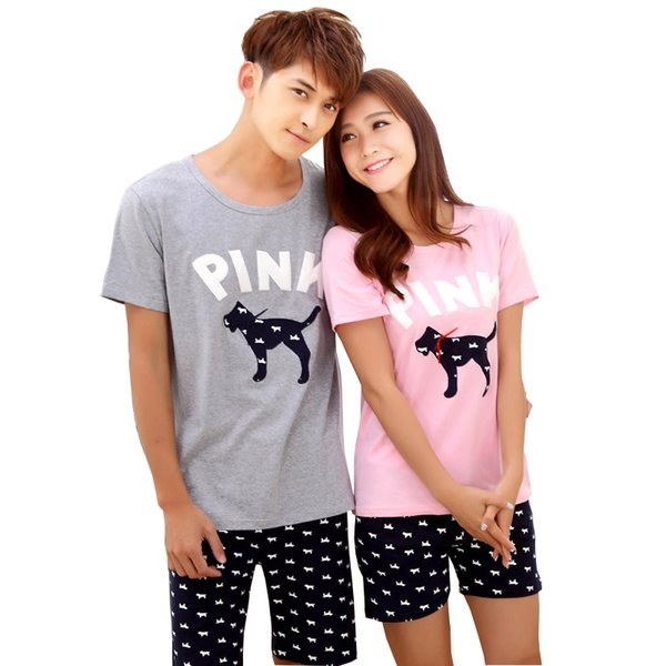 Summer Couple Cotton Pajama Sets For Women Men Animal Cartoon Dog Shirt Shorts Pyjama Femme Suit Pijama Costumes