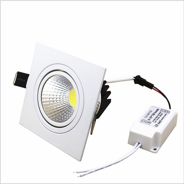 2016 New Super Bright Recessed LED Dimmable Square Downlight COB 7W 9W 12W 15W LED Spot light decoration Ceiling Lamp AC85-265V