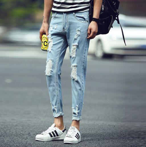 ff367576be famous brand designer Justin Bieber jeans for men Ripped Jeans Blue Rock  Star Mens Jumpsuit Designer Denim Jeans Male Pants