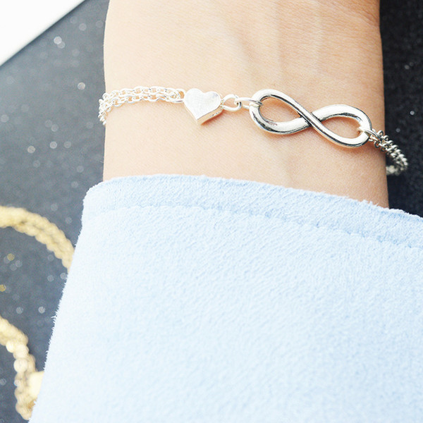 top popular New Simple Infinity Bracelet with Heart Charm Link Chain Silver Gold for Women Fine Jewelry Wholesale 2019