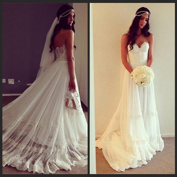 Discount Hippie Wedding Dresses Bohemian Style Sweetheart Chiffon ...