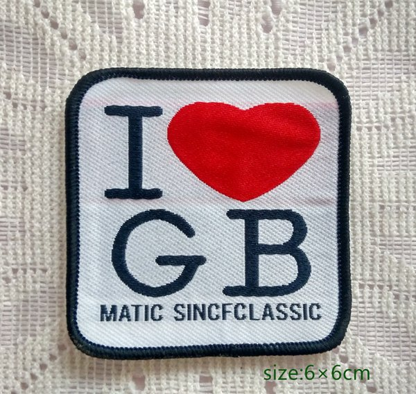 I Love GB heart UK Great Britain Sew On Patch Shirt Trousers Vest Coat Skirt Bag Kids Gift Baby Decoration