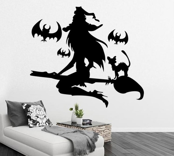 The Witch and the Bat Wall sticker Halloween Decor Wall or Window Art Decoration Wall Vinly Decals Home Decor Black