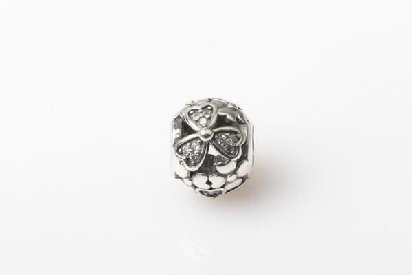 Nuovo openwork micro intarsio Crystal pave charms trifoglio Fiori Bead Authentic 925 gioielli in argento sterling per le donne braccialetti FAI DA TE HB402