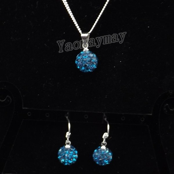 Wholesale 10 Sets Peacock Blue Disco Ball Pendant Earrings And Silver Plated Necklace Crystal Jewelry Set For Christmas