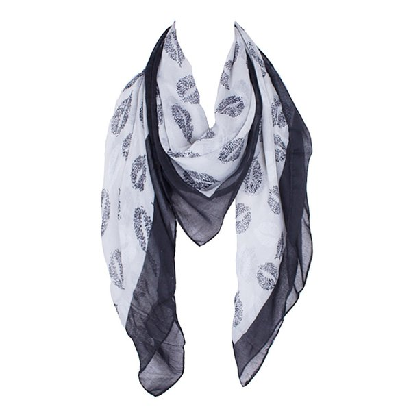 Wholesale- 2016 New Design Polyester Women Square Scarf Wrap Foulard Black Lips Print Scarf Big Size Scarves