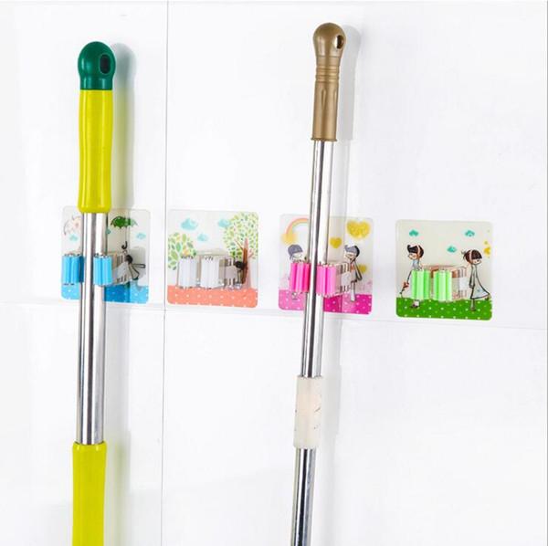 cute cartoons kitchen seamless washable strong stick self adhesive plastic mop rack organizer bathroom storage mop broom holder hanger
