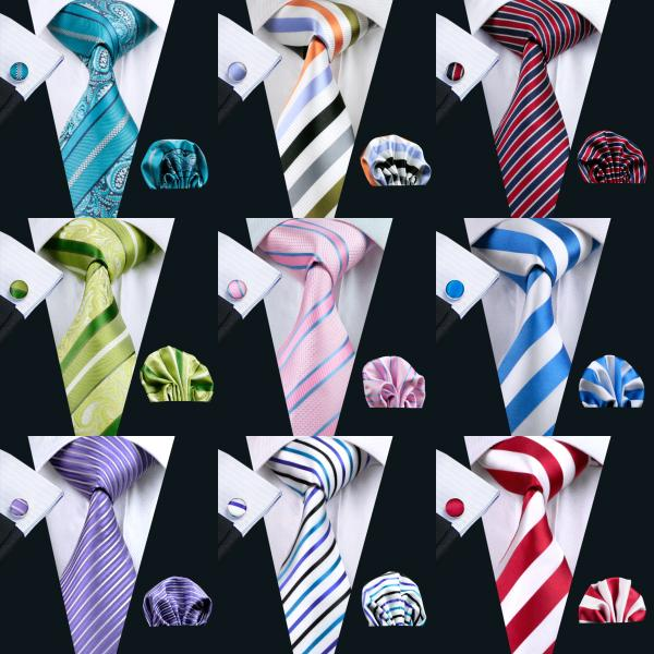 Atacado Stripe Estilo Clássico Conjunto Gravata De Seda Hanky Abotoaduras Jacquard Tecido Gravata dos homens Gravata Set Festa de Trabalho de Casamento