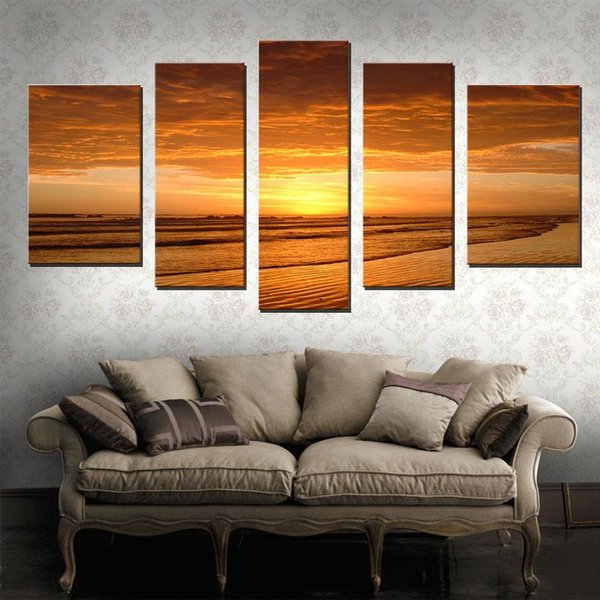 Beautiful Scenery Beach Art Paintings 5 Panel Seascape Sunset Oil Paintings Wall decoration for Living Room