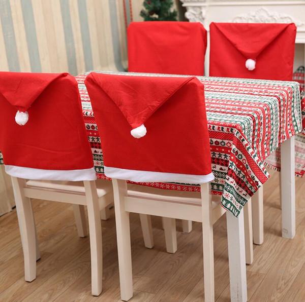 Santa Claus Cap Chair Cover Weihnachten Dinner Table Party Red Hat Stuhl zurück deckt Weihnachtsdekoration