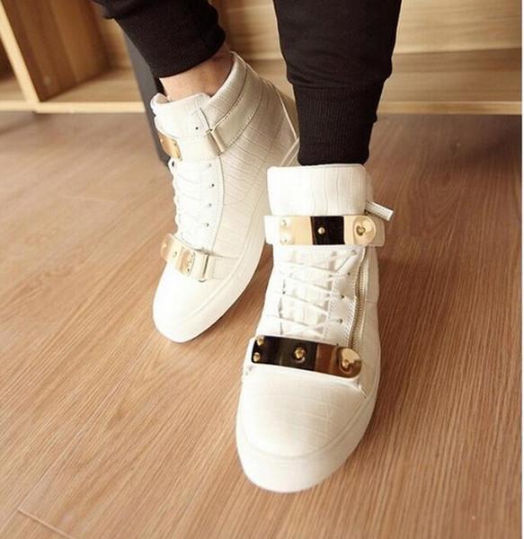 2016 men Sneakers Snakeskin grain high shoes mens Punk shoes Metal, wear-resisting, shoesgym shoes D147