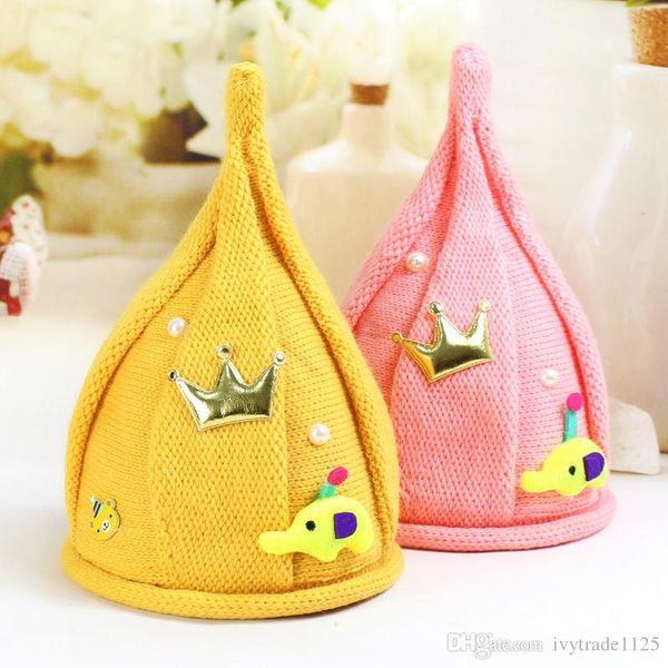 4 Farben koreanischen Stile Neuankömmlinge Windmühle Wollmütze Kinder handgefertigt Winter warm Junge Mädchen Spitzen Hut Strickmütze mit Krone Zubehör