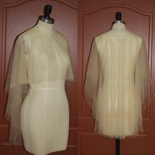 New Real Picture Wedding Shawls High Low Champagne Tulle Beaded Wrap Evening Party Accessories Short Front Long Back