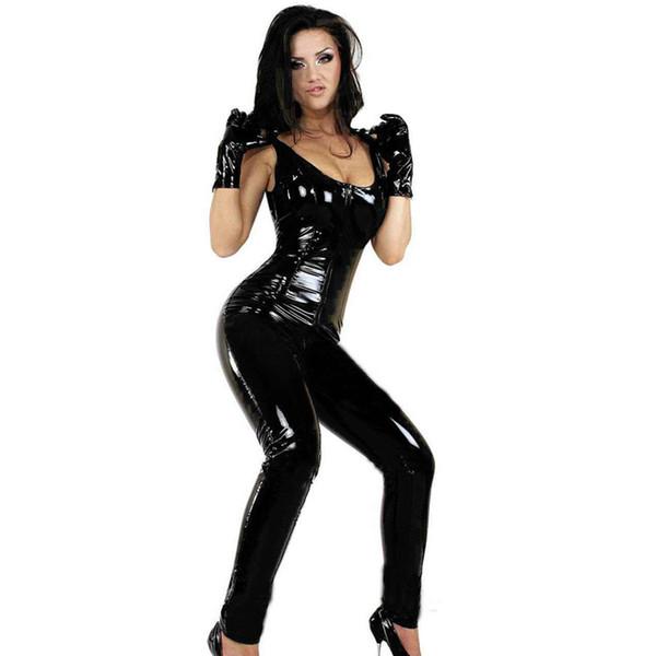 Sexy Catsuit de vinilo negro de alta calidad mono sin mangas cremallera a la entrepierna mono con guantes de imitación de cuero lencería Catsuit W377918
