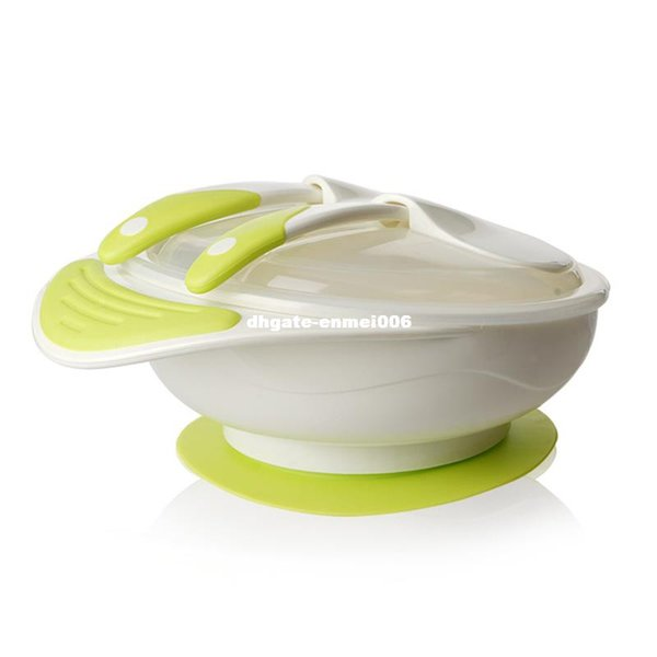 Toddler Sucker Bowl Feeding Lid Training Bowl With Spoon&Fork Kids Child Cartoon Baby Tableware Children Plate T0400