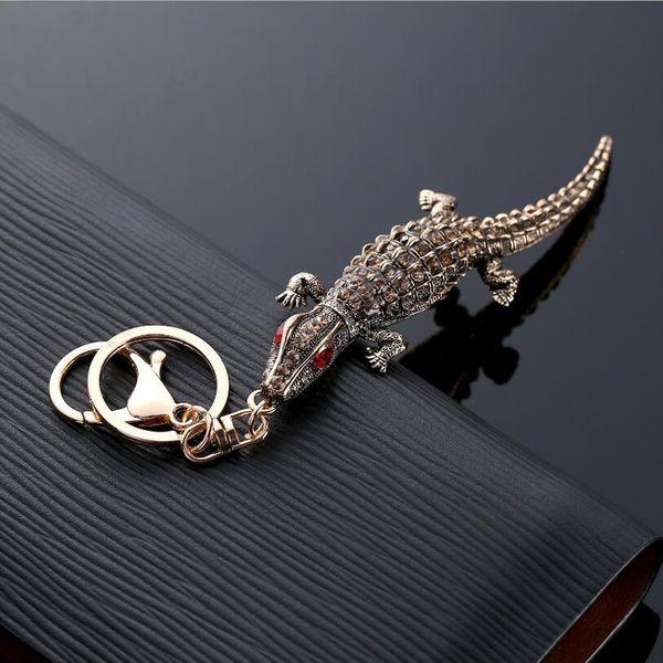 Llavero de llavero de cocodrilo de diamantes de imitación de cristal - Llavero de cadena de coche de cocodrilo titular - Regalos de fiesta de bolsa de mujer