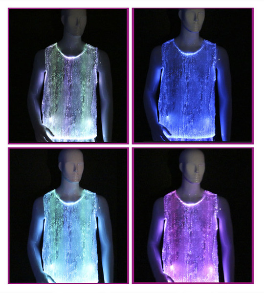 wholesale 10pcs/lot 2016 flashing t-shirt top quality fiber optic clothing mens clubwear uniform led shirts RGB lighting clothing nwt
