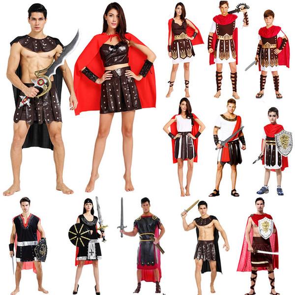 2018 Traje de la Antigua Roma Ropa de Guerrero Ropa para Adultos Disfraces de Carnaval de Halloween Fantasía Disfraces Fiesta Suministros