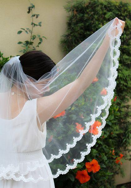 2016New Top Quality Best Sale Romantic Elbow White Ivory Lace Applique veil Bridal Head Pieces For Wedding Dresses