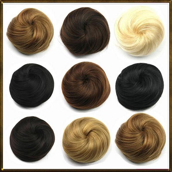 Wholesale-1PC Haarknoten Chignon Extension Haarteile Big Hair Bride Bun Ring Dount Synthetische Natural Curly Clip In Haarknoten Schwarz, braun