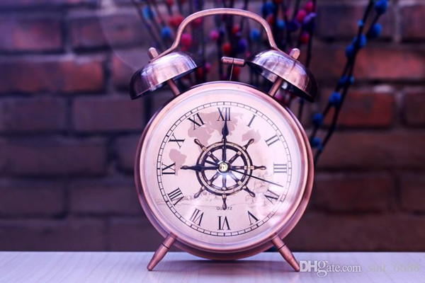 Cheap vintage retro super loud mechanical bell alarm clock mute nightlights small lovely students watch free shipping