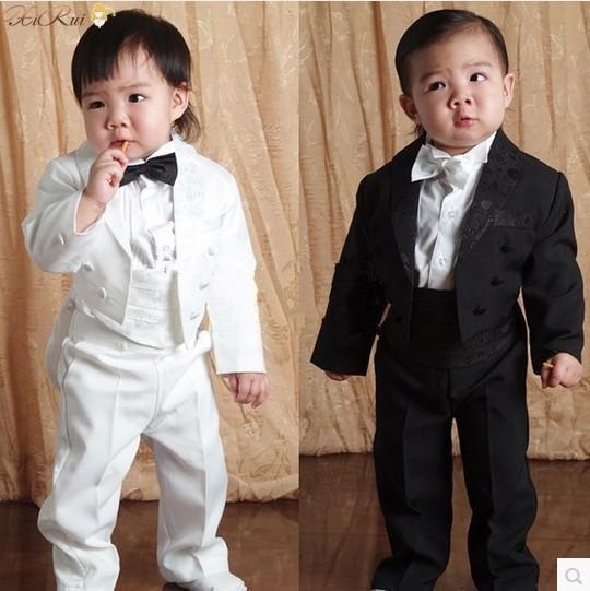 Baby Boy Cinco peças conjunto de roupas Crianças smoking formal terno do casamento Do Bebê Meninos Blazers ternos preto branco 1-4 anos