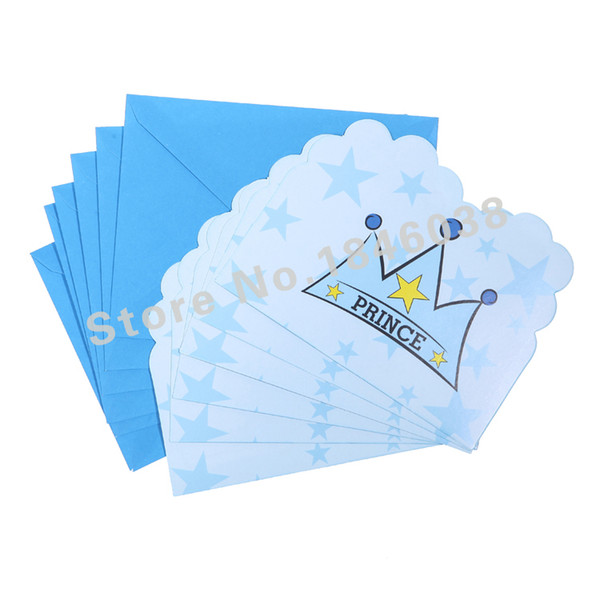 Wholesale- 6pcs Envelop Shape Crown Prince Theme Party Invitation Card Kids Baby Birthday/Festival Party Card Decoration Supplies