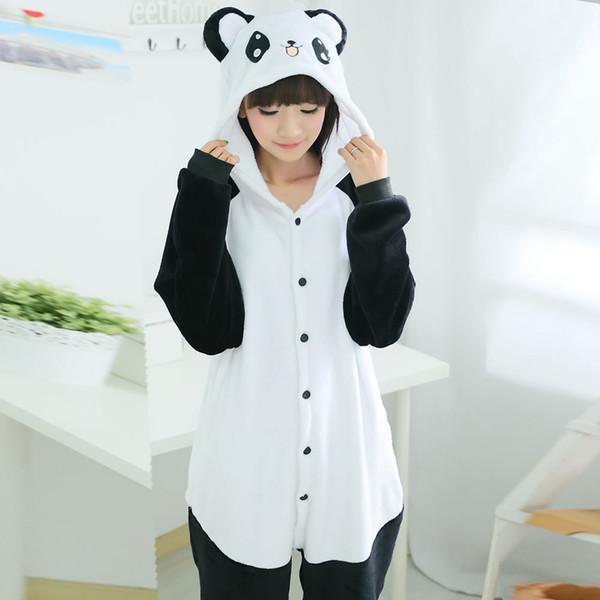 Wholesale-Top Quality Cartoon New Flannel Pajamas Panda Pajama Cartoon Animal Adult Panda Costume Sleepwear Cute Pajama Panda Onesie