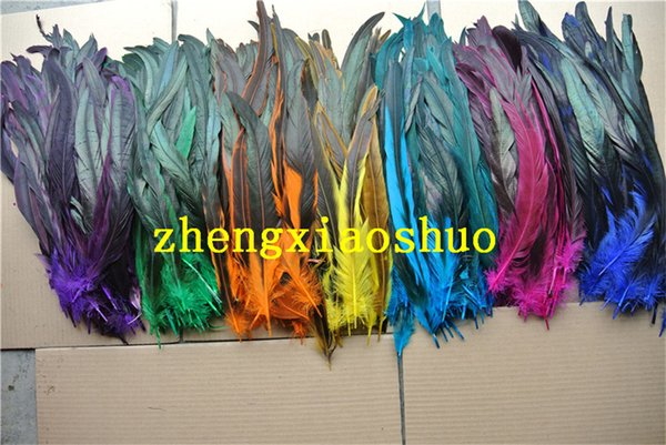 100pcs 14-16inch royal blue purple orange yellow hot pink black lime green red turquoise dark green Rooster coque feather loose